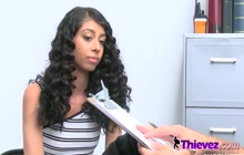 Rough sex in this naughty office between a horny officer and a shoplifter teen.