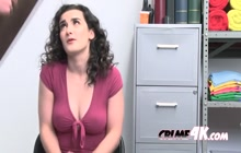 Teen thief doesn't want to get arrested by the cops so she rather gets hard fucked by the guard.