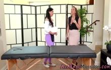 Scissoring teen masseuse lesbian eats out