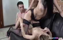 BGG porn with gals sucking cock and getting facial