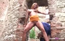 Teen sweetie pussy-fucked in an old castle